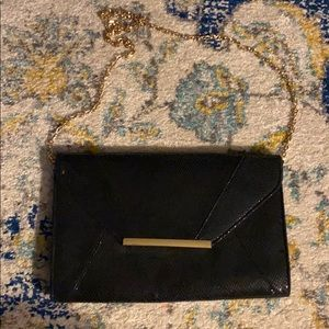 Handbags - Black Clutch/Purse with Gold Chain